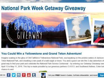 National Park Week Getaway Giveaway Sweepstakes