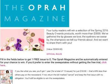 Oprah Beauty O-Wards Sweepstakes