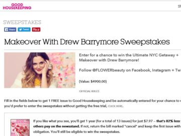 Good Housekeeping's Makeover with Drew Barrymore Sweepstakes