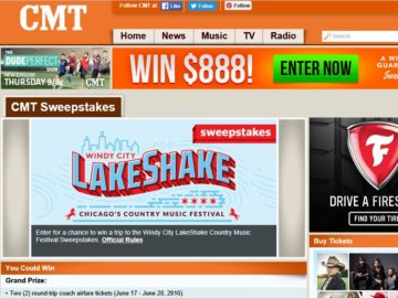 """The CMT """"Windy City LakeShake Country Music Festival""""  Sweepstakes"""