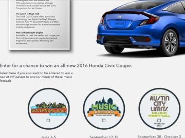 The 2016 Honda Stage at Music Festivals Sweepstakes