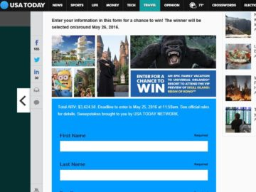 The GANNETT – Universal Orlando Resort Sweepstakes