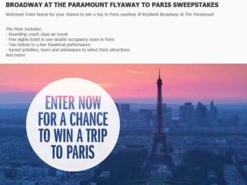 The 2016/17 Broadway at the Paramount Flyaway to Paris Sweepstakes