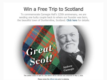A Visit to the Auld Country Carnegie Hall Sweepstakes