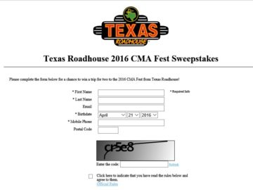 The Texas Roadhouse CMA Music Fest Giveaway Sweepstakes