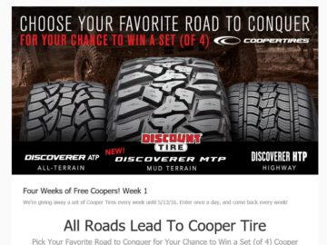 Discount Tire/America's Tire All Roads Lead To Cooper Tire  Pick Your Favorite Road to Conquer Sweepstakes