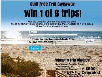 """Orbitz """"Guilt Free Trip"""" Sweepstakes"""