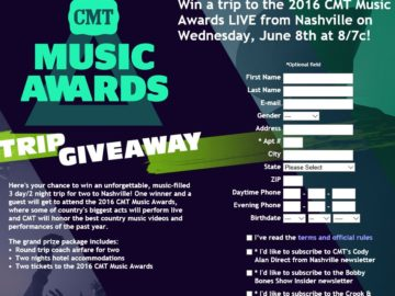 CMT Music Awards Trip Giveaway Sweepstakes