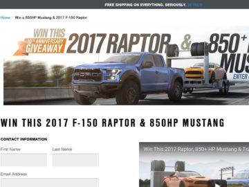 2017 Raptor + 850 + HP Mustang Giveaway Sweepstakes