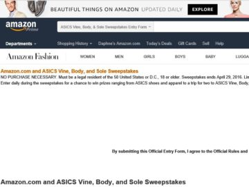 The Amazon.com and ASICS Vine, Body, and Sole Sweepstakes
