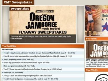 "The CMT ""Oregon Jamboree"" Sweepstakes"