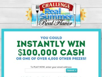"""Challenge $100,000  """"Real Summer, Real Flavor"""" Instant Win & Sweepstakes"""