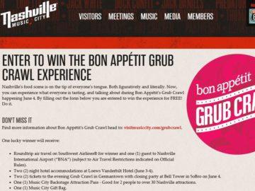 Music City's Grub Crawl Sweepstakes