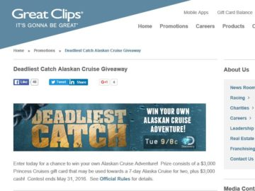 The 2016 Great Clips & Discovery/Deadliest Catch Alaska Cruise Sweepstakes