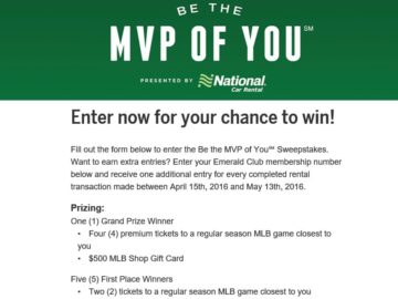 National Car Rental Be the MVP of You Sweepstakes