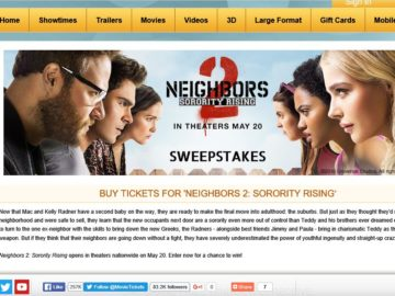 "The MovieTickets.com ""Neighbors 2: Sorority Rising"" Sweepstakes"