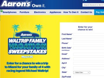 The Aaron's Waltrip Family Vacation Sweepstakes