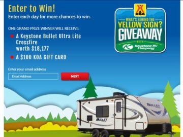 The KOA What's Behind the Yellow Sign Giveaway Sweepstakes