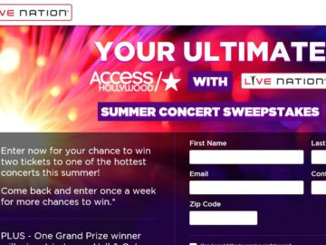 The Your Ultimate All Access Hollywood Live Nation Summer Concert 2016 Sweepstakes