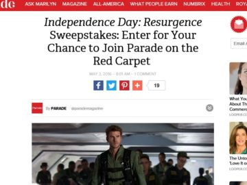 The On the Red Carpet with Independence Day Resurgence Sweepstakes