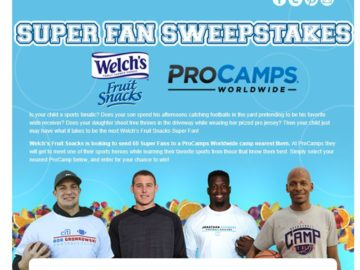 Welch's Fruit Snacks ProCamps Super Fan Contest