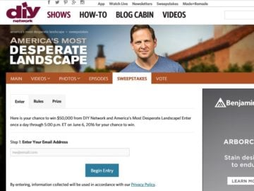 DIY Network America's Most Desperate Landscape Giveaway Sweepstakes