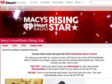 Macy's iHeartRadio Music Festival Voting Sweepstakes