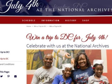 The National Archives 'July 4 Trip to Washington, DC' Sweepstakes