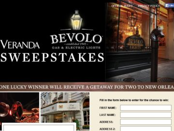 Bevolo Veranda Sweepstakes