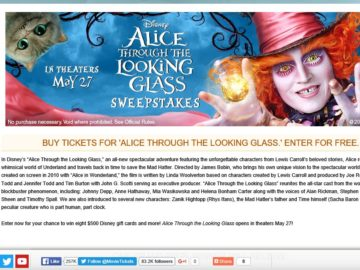 """The MovieTickets.com """"Alice Through the Looking Glass"""" Sweepstakes"""