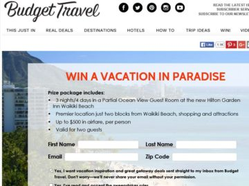 """Budget Travel """"Win a Vacation in Paradise"""" Sweepstakes"""