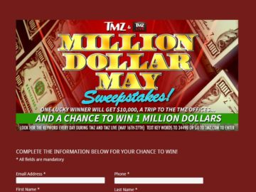TMZ &TMZ LIVE Million Dollar May Sweepstakes