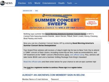 Good Morning America's Summer Concert Series Sweepstakes