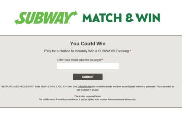 The SUBWAY Match & Win Sweepstakes