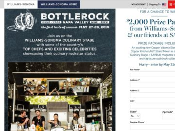 Williams-Sonoma Bottlerock Sweepstakes