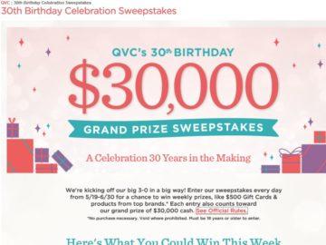 QVC 30th Birthday Celebration Sweepstakes