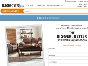 "The Big Lots ""Bigger, Better Furniture Department"" Sweepstakes"