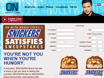ON with Mario Lopez's SNICKERS Brand Satisfies Sweepstakes