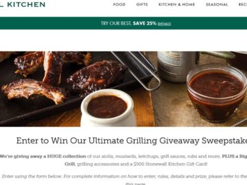 The Stonewall Kitchen Ultimate Grilling Giveaway Sweepstakes