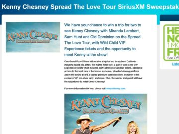 Kenny Chesney Spread The Love Tour SiriusXM Sweepstakes