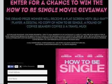 "The Coffee Beanery's ""How to Be Single Movie Giveaway"" Facebook Sweepstakes"
