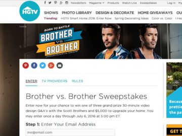 2016 HGTV Brother vs. Brother Sweepstakes
