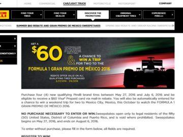 Pirelli Formula 1 Gran Premio De Mexico Sweepstakes