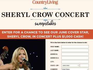 Country living sheryl crow concert sweepstakes for Country living sweepstakes april 2016