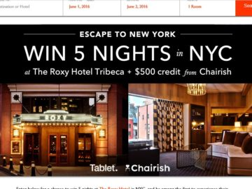 Tablet. Escape to New York Sweepstakes
