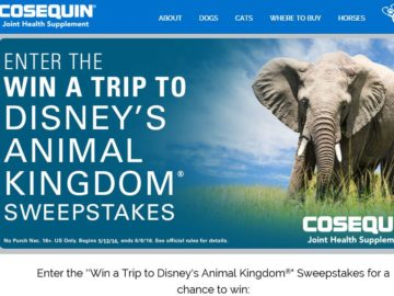 The Cosequin Win a Trip to Disney's Animal Kingdom Sweepstakes