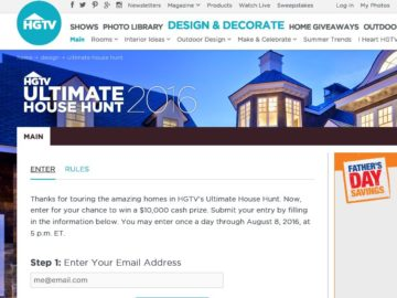 HGTV.com's Ultimate House Hunt Giveaway Sweepstakes