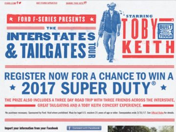 The Toby Keith 'Interstates & Tailgates' Sweepstakes