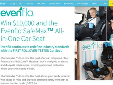Ellen's Win $10,000 and the Evenflo SafeMax All-in-One Car Seat Contest