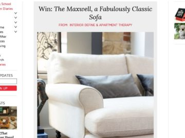 """Interior Define's """"The Maxwell"""" Sofa Sweepstakes"""